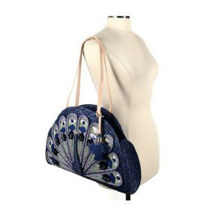 Kate Spade Womens Blue Full Plume Embroidered Straw Peacock Clutch Handbag